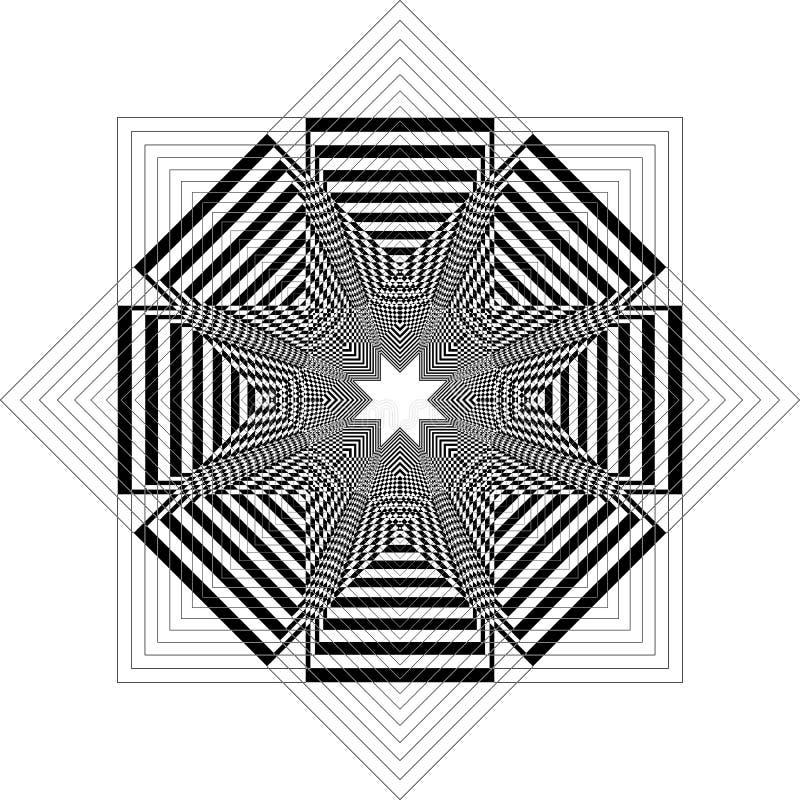 Fan Tourbine wie Struktur arabesque Illusion arabesque Satelit inspirierte Struktur abstrakte Schnitt Kunst Deco Illustration vektor abbildung