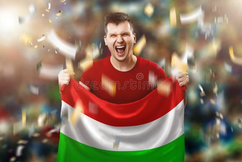 Fan ungherese, un fan di un uomo che tiene la bandiera nazionale dell'Ungheria in sue mani Fan di calcio nello stadio Media misti immagini stock