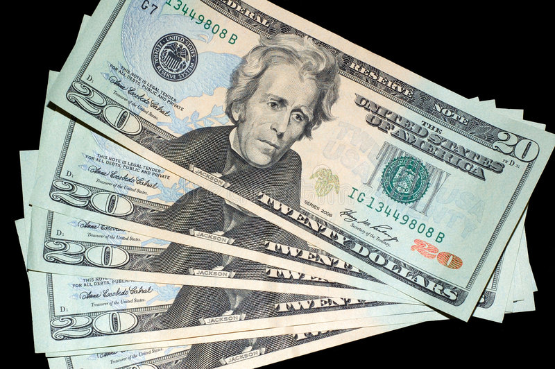 Fan of US $20 bills stock images