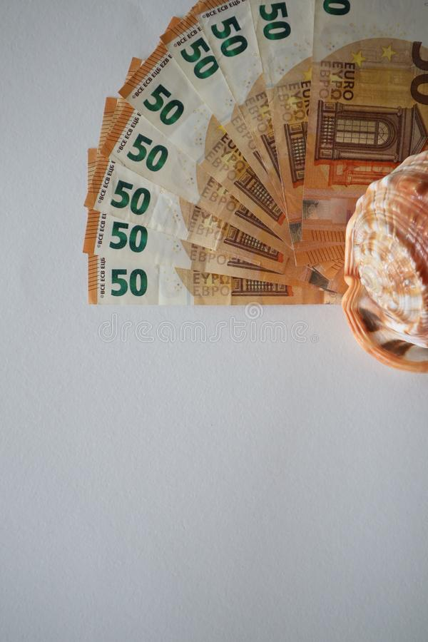 Fan von 50, Euro lokalisiert auf wei?em Hintergrund Fan von 50, Euro Eurogeldanmerkungen Nahaufnahme stockfoto