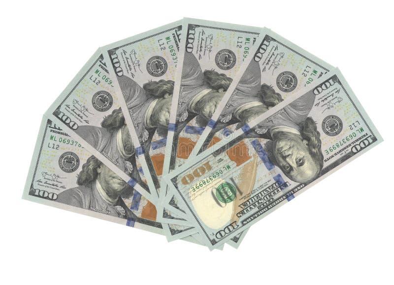 Fan von wirklichen hundert Dollar Banknotenpng stockfotografie