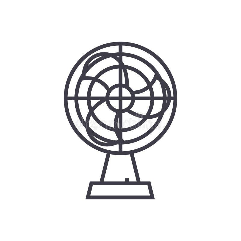 Fan wektoru linii ilustracyjna ikona, znak, ilustracja na tle, editable uderzenia ilustracji