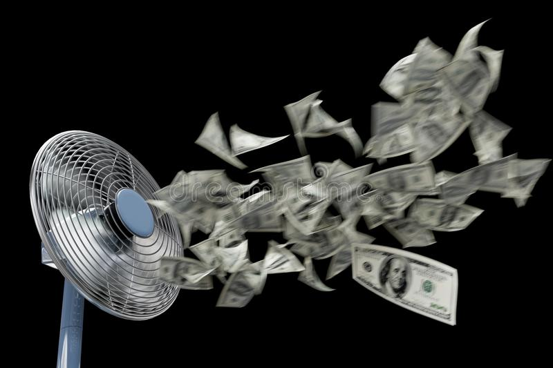 Fan and winding money concept background business composition on isolate black stock images