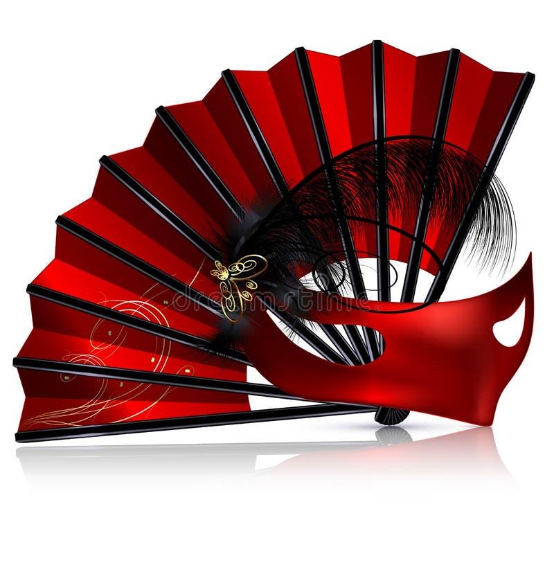 Fan y máscara rojas con las plumas libre illustration