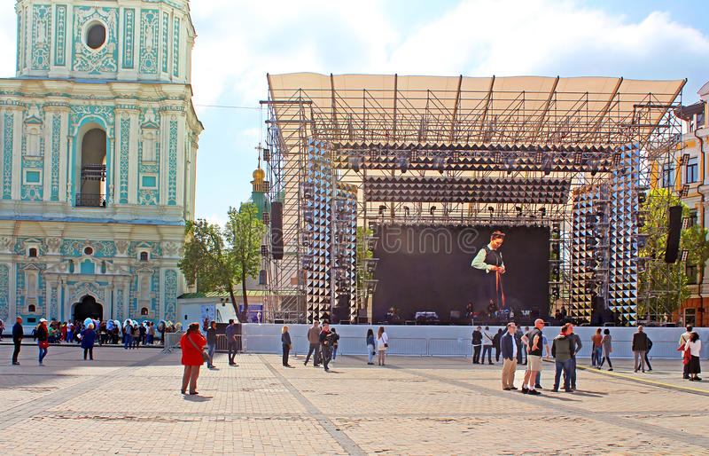Fan zone for international song competition Eurovision-2017 on Sofia square in Kyiv. Ukraine stock photography