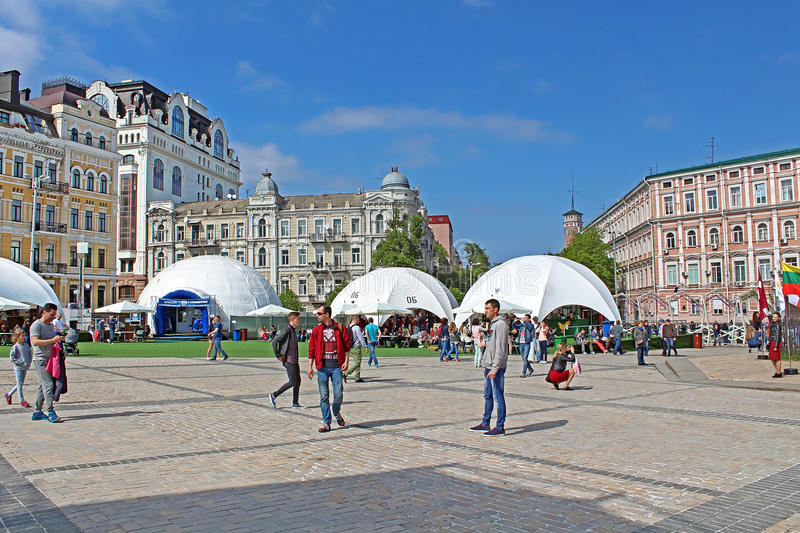 Fan zone for international song competition Eurovision-2017 on Sofia square in Kyiv. Ukraine stock photo