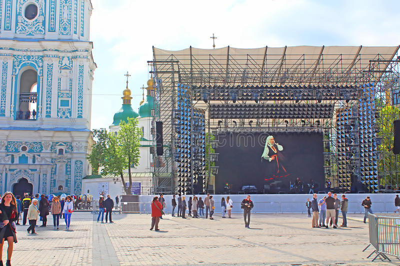 Fan zone for international song competition Eurovision-2017 on Sofia square in Kyiv. Ukraine royalty free stock photo
