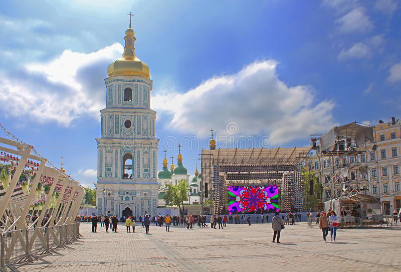 Fan zone for international song competition Eurovision-2017 on Sofia square in Kyiv. Ukraine stock photos