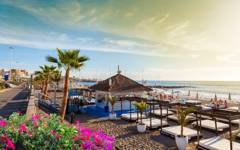 Fanabe plaża w Tenerife, wyspa kanaryjska, Hiszpania zdjęcie stock