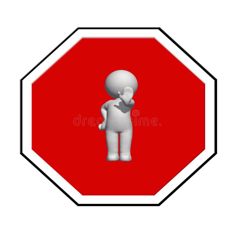 Fanale di arresto - l'uomo bianco 3D sul fanale di arresto mostra il signa di arresto illustrazione di stock