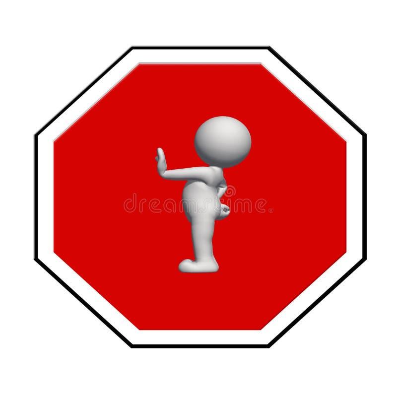 Fanale di arresto - l'uomo bianco 3D sul fanale di arresto mostra il signa di arresto illustrazione vettoriale