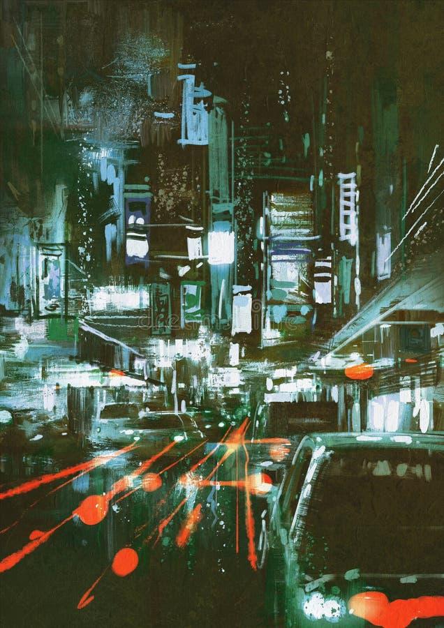 Fanali posteriori dell'automobile su una via della città alla notte illustrazione di stock