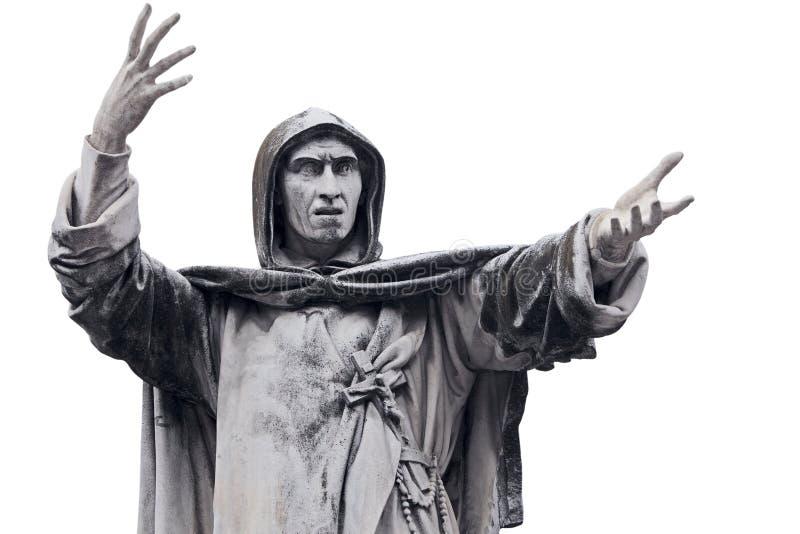 Fanaticism. Statue of Girolamo Savonarola in Ferrara, Emilia-Romagna in Italy royalty free stock images