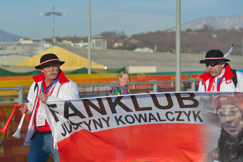 Fanclub de Justyna Kowalczyk imagenes de archivo