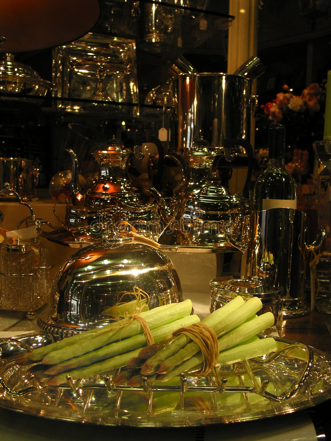 Fancy asparagus dinner stock images