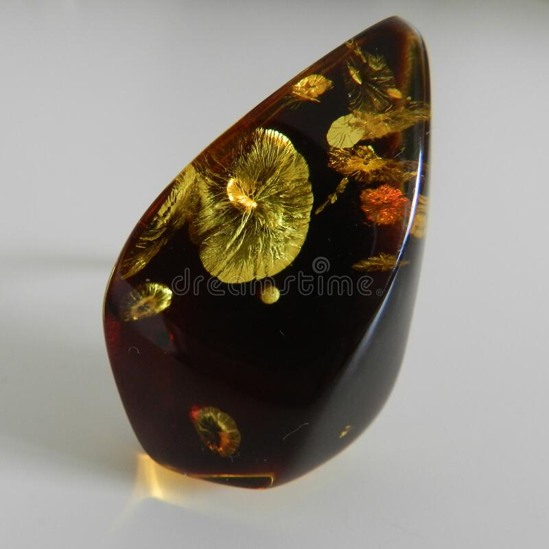Fancy Baltic Amber. Lots of inclusions inside a Baltic amber, like beautiful flowers stock photography