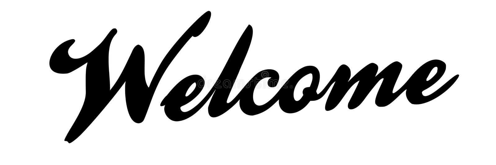 Fancy Black Welcome Handwriting Text - Vector Illustration royalty free illustration