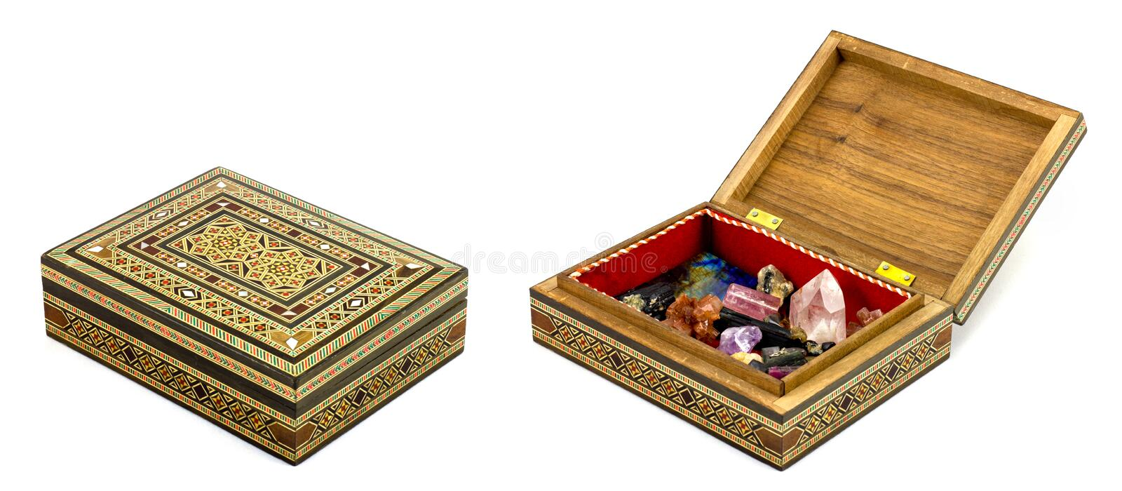 Fancy Box With Hidden Treasure On White royalty free stock photography