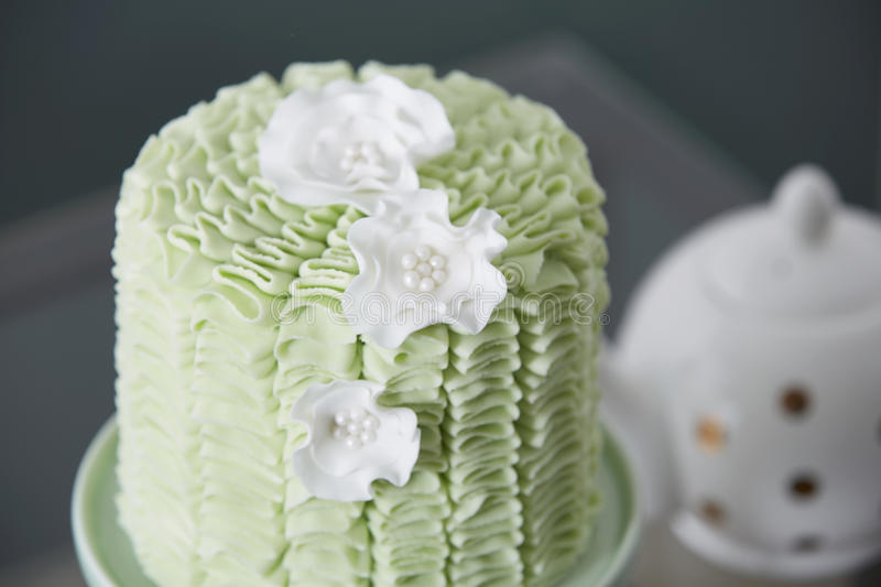 Fancy Cake Served at Tea Time stock photography