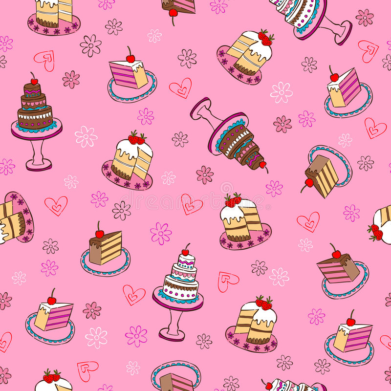 Fancy Cakes Seamless Repeat Pattern royalty free illustration