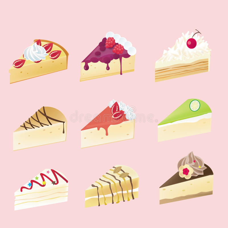 Fancy Cheesecake With 9 Different Look Stock Vector