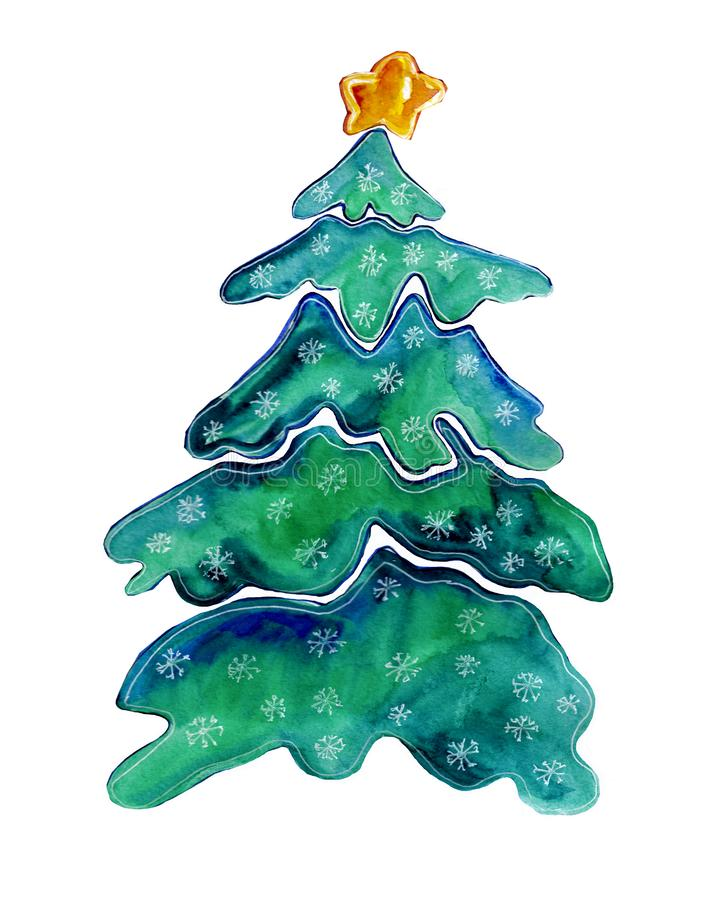 Fancy Christmas tree made of watercolor splashes royalty free stock photos