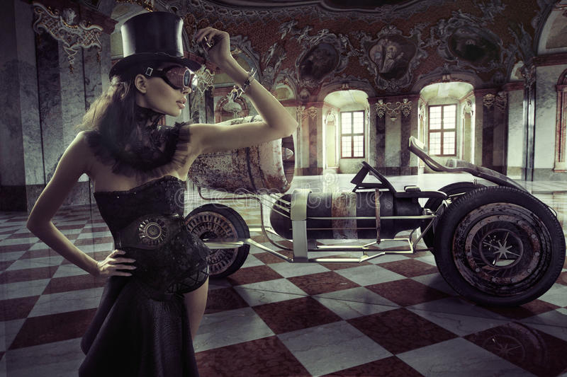 Fancy clothed woman with retro car. Fancy clothed lady with retro car royalty free stock photo