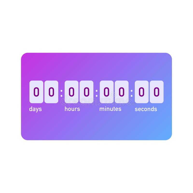 Fancy count down timer with instagram gradient stock illustration
