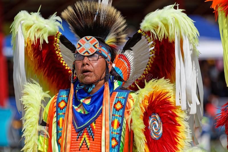 Fancy dancer at the 49th annual United Tribes Pow Wow stock photos