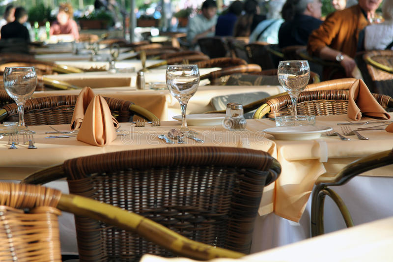Fancy Dinner Table at Restaurant royalty free stock image