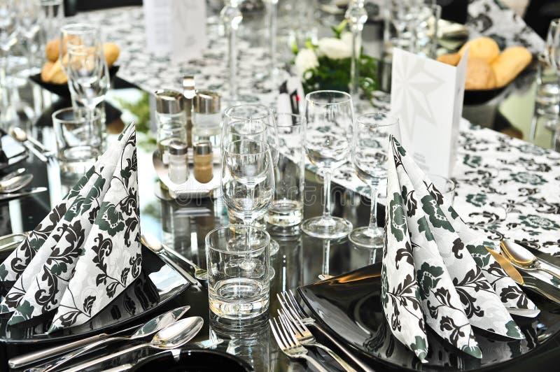 Fancy dinner table set stock image