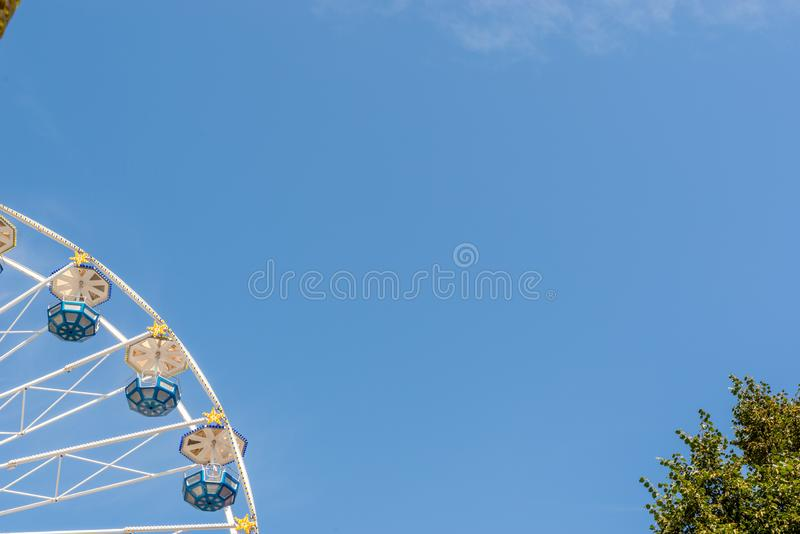 Fancy fair signs for banners and text with blue sky. Fancy fair signs for banners and text stock photo