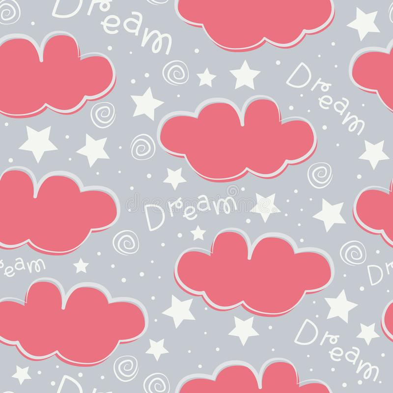 Clouds and stars kids seamless pattern design stock image