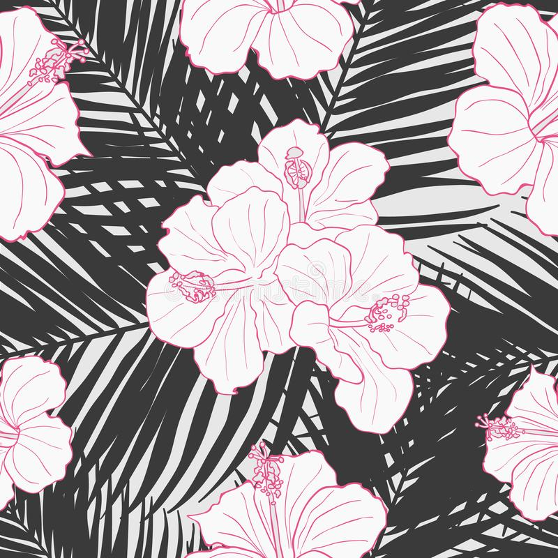 Modern tropical flowers seamless pattern design royalty free stock images