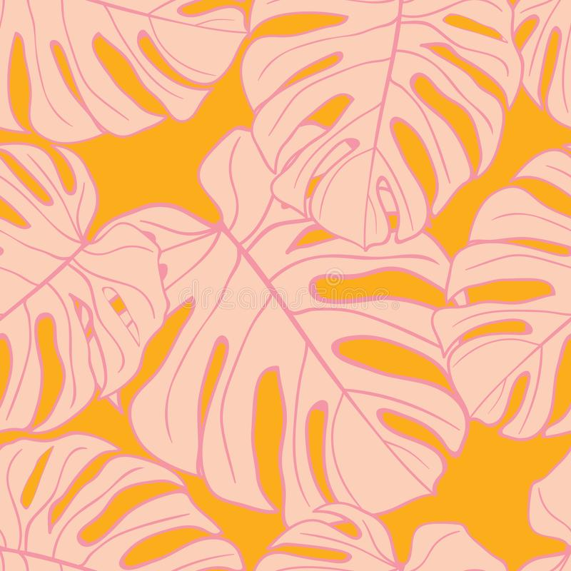 Cute green tropical leaves seamless pattern design royalty free stock photo