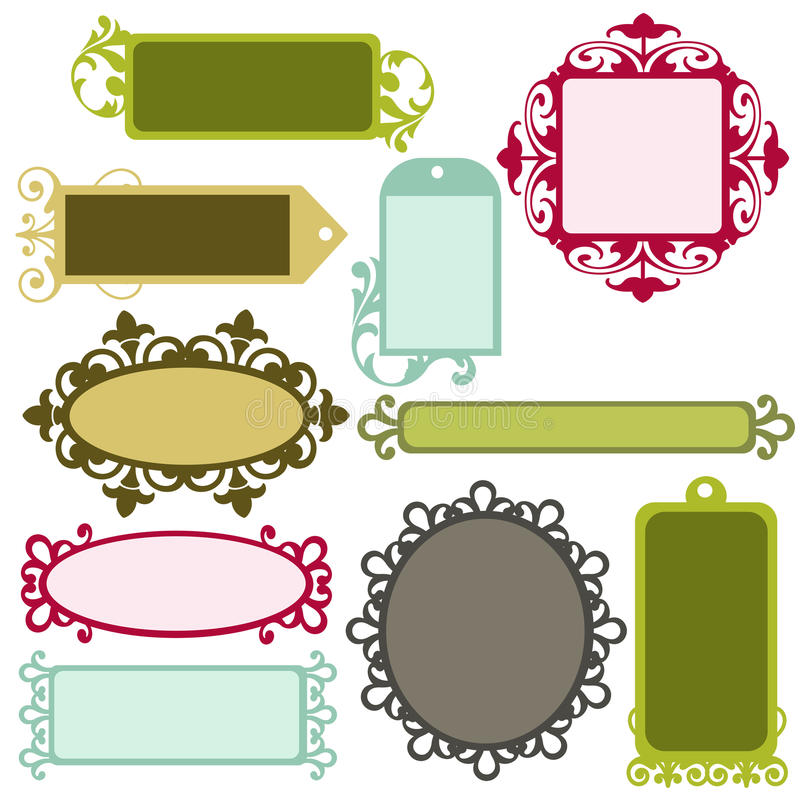 Fancy Frames. A set of ornately decorated frames and labels stock illustration