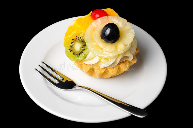 Fancy fruit cake royalty free stock image