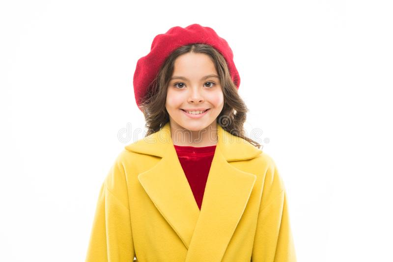 Fancy girl. Dress up like fashion girl. Kid little cute girl smiling face posing in hat isolated on white. Fashionable royalty free stock image