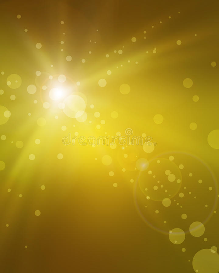Fancy gold background blur with yellow sun ray streaks of light and blurred bokeh circles royalty free stock photography