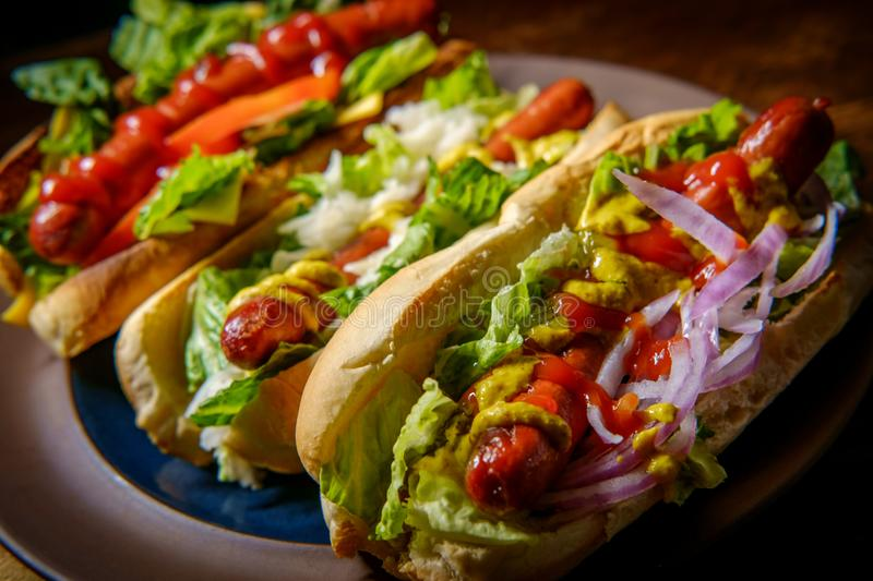 Fancy Grilled Hotdogs. With many toppings including relish and sauerkraut stock image