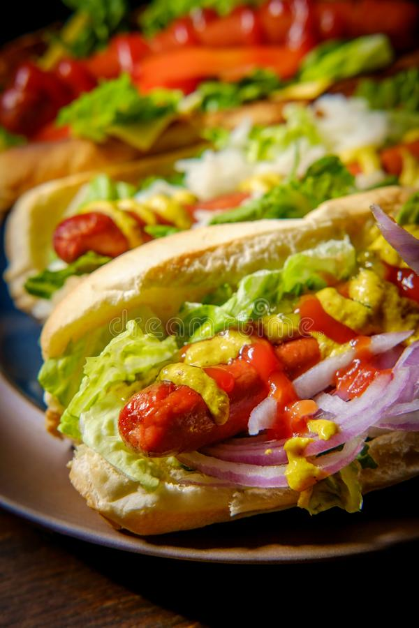 Fancy Grilled Hotdogs. With many toppings including relish and sauerkraut stock images