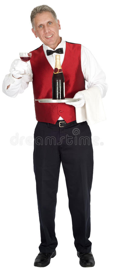 Download Fancy Head Waiter Holding Wine Bottle Isolated Stock Photo - Image: 32259188