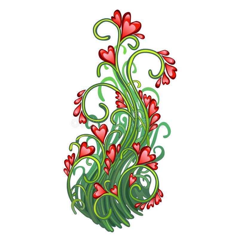 Fancy a herbaceous plant with flowers in the shape of hearts isolated on white background. Red heart symbol of Valentine. `s day holiday lovers. Vector cartoon royalty free illustration