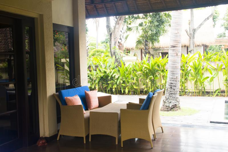 Fancy hotel room in Bali, Indonesia royalty free stock photography