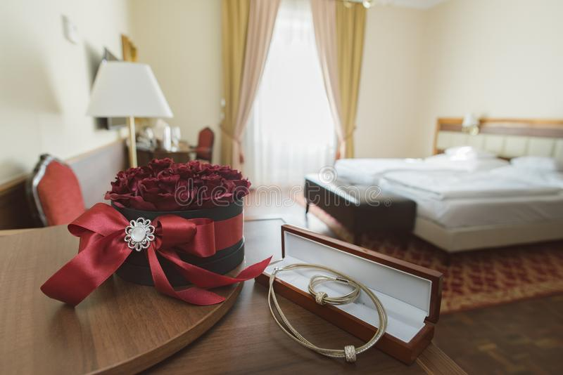 Fancy hotel room. Romantic hotel room. royalty free stock image