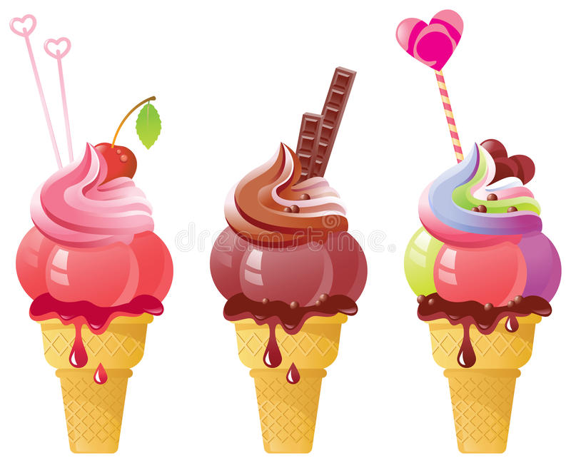 Fancy Ice Cream. Vector illustration of tasty ice-cream. Created in Adobe Illustrator. All colors are global. Only simple gradients used