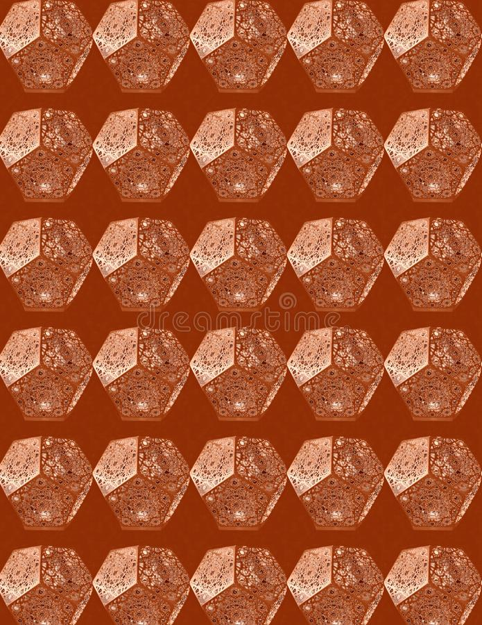 Fancy Laterns geometric abstract pattern. Abstract seamless pattern with pentagon structures against a brown background. Textile pattern, wall decor, book cover vector illustration
