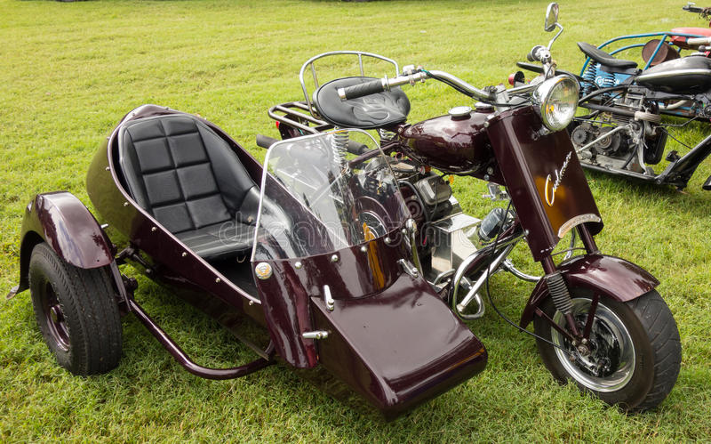 A fancy motorcycle on display at an annual event in paducah. A motorbike with a sidecar parked at a county fair in kentucky royalty free stock photography