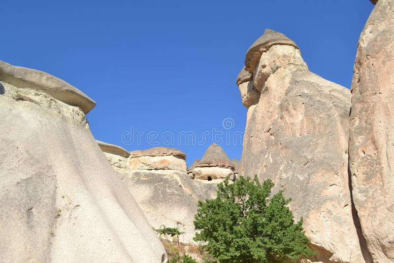 The fancy mushroom houses in Cappadocia region. The nature landscape of Cappadocia region Turkey, unique historical and cultural heritage, summer time stock photography