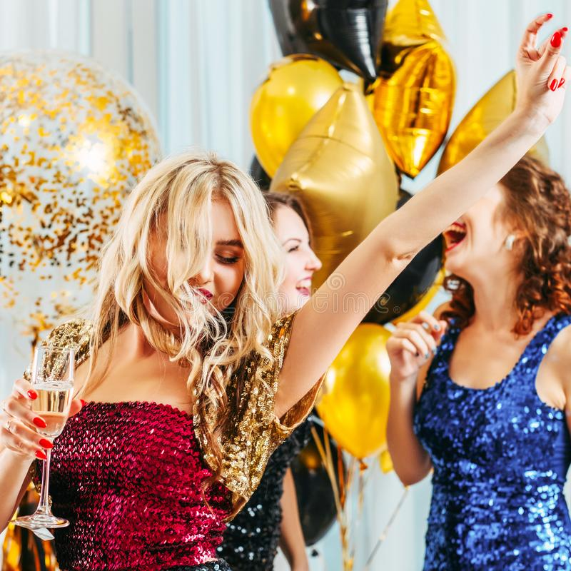Hen party special day dancing celebration girls royalty free stock photo